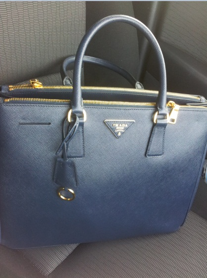 New Prada Bag! Prada Saffiano Lux BN1786 in Baltico Navy Black Blue - Prada tote baltic blue