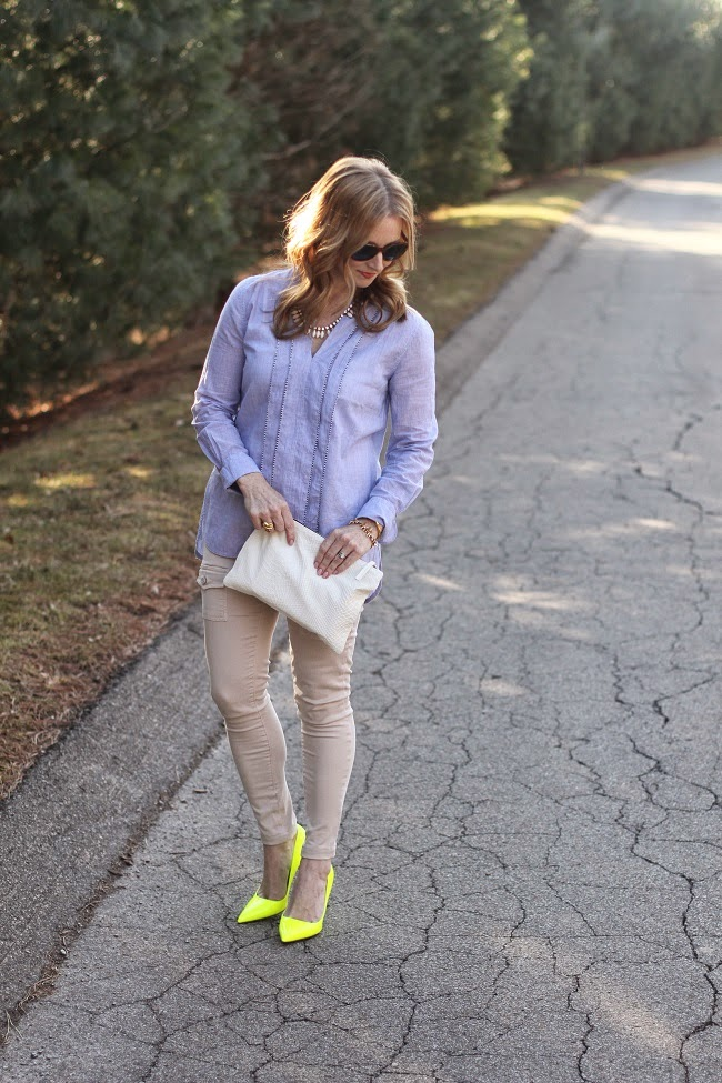jcrew blue shirt, joie so skinny pants, clare v clutch, elizabeth and james sunnies, jcrew necklace, kate spade heels