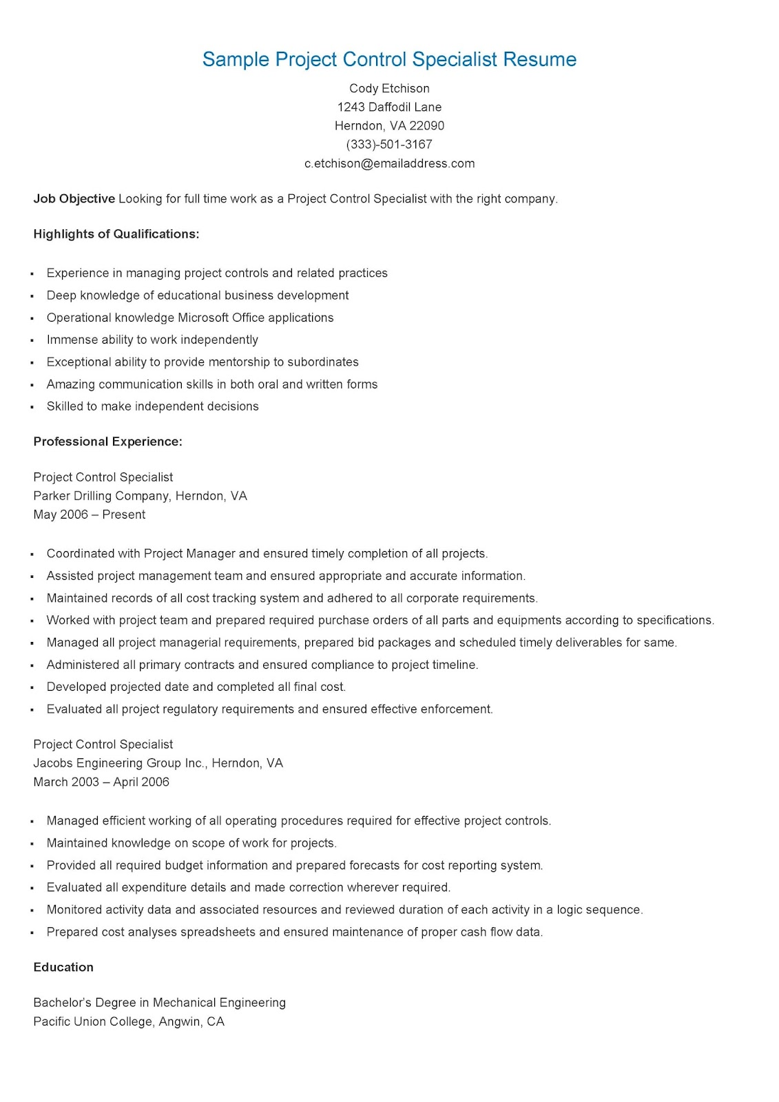 resume samples sample project control specialist resume
