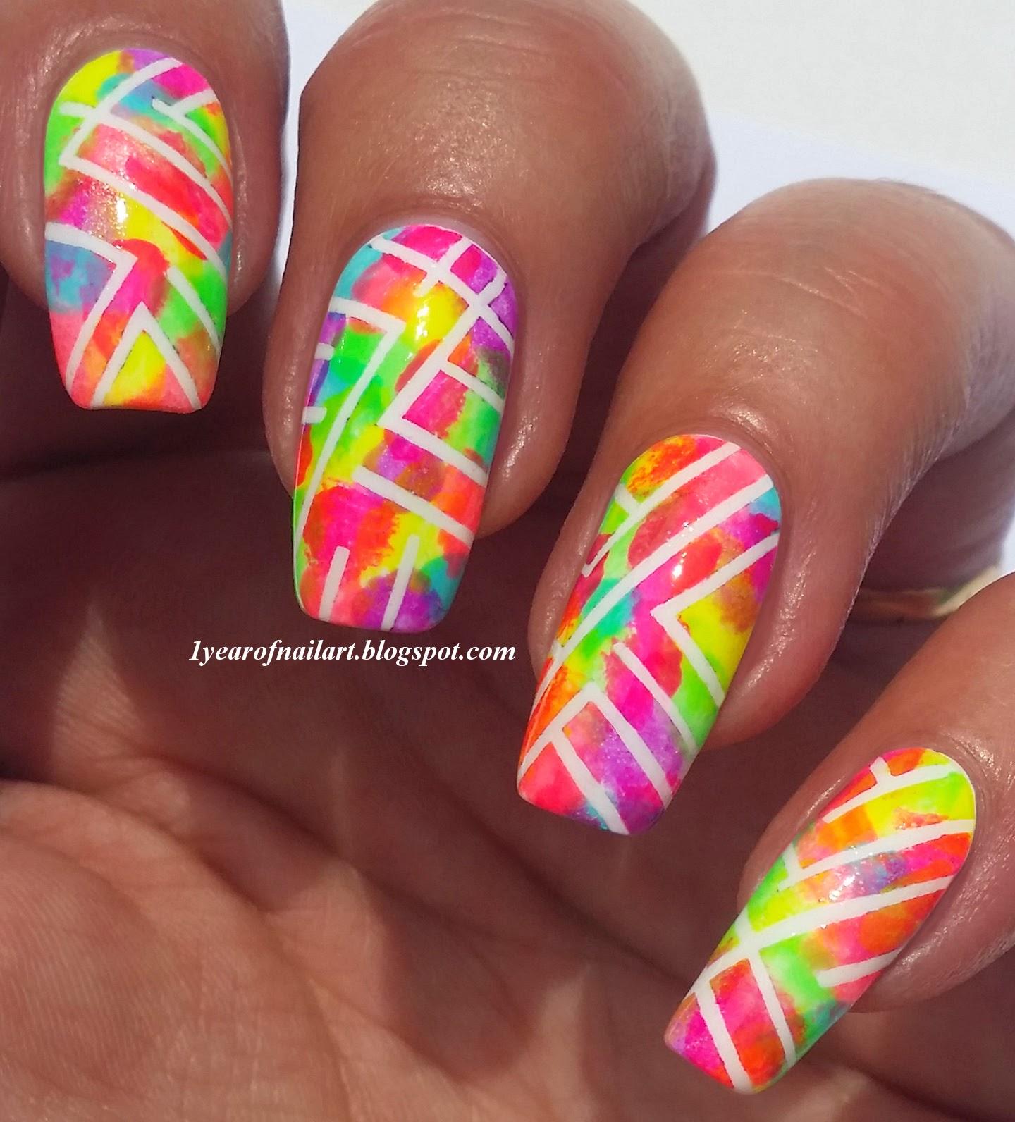 365+ days of nail art: Abstract neon nails