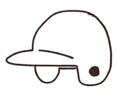 野球のヘルメットのイラスト(スポーツ器具) モノクロ線画