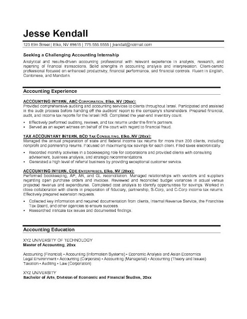 Cpa Resume Sample | Sample Resume And Free Resume Templates