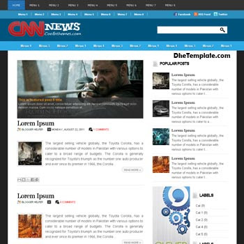 Cnn News blogger template. blogger template 3 column. template blogspot 3 column