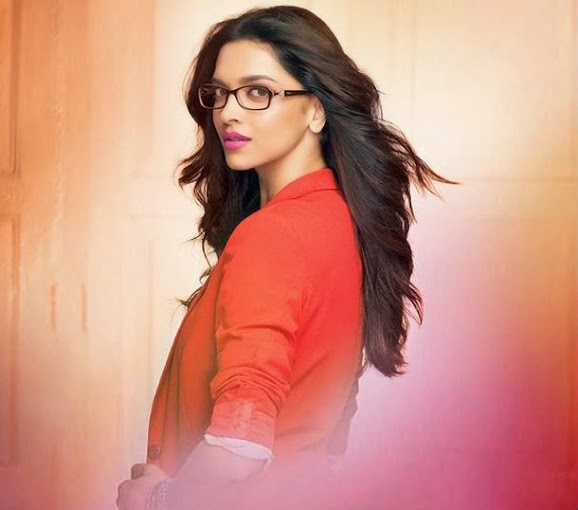 Deepika Padukone in red coat inVogue Eyewear