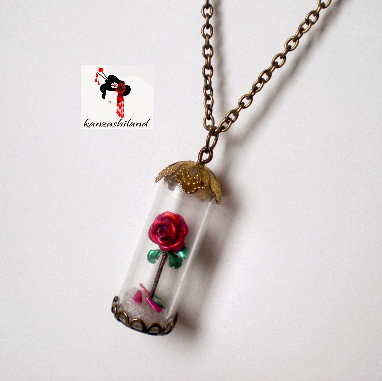 Colgante Rosa de la Bella y la Bestia, colgante rosa, colgante victoriano,