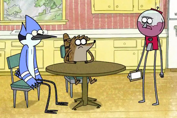 Benson from Regular Show is exactly what white people and old Asian guys look like to me whenever I see them walk around in high-waisted pants.