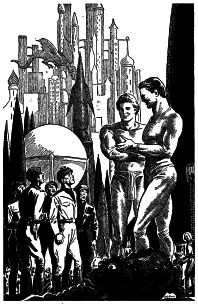 Illustration by Paul Orban accompanying the original publication in If magazine of short story The Lonely Ones by Edward W Ludwig. Image shows the human party ignored by giant alians at the spaceport of a world in Proxima Centauri system.