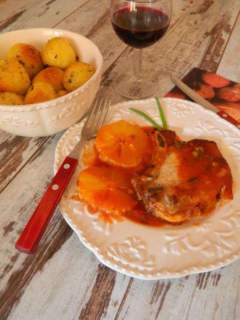 Cotlete de porc cu portocale