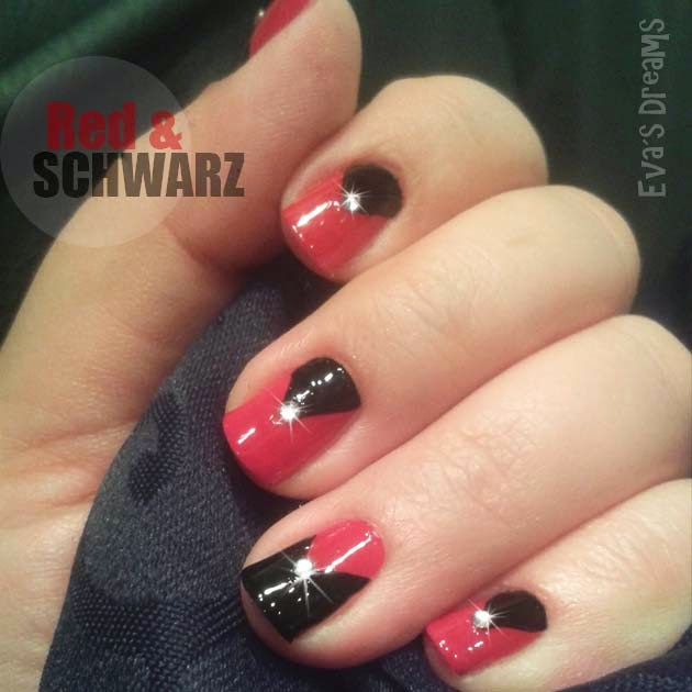 Nails of the week: Nail Design - Schwarz + Rot mit Blinkies