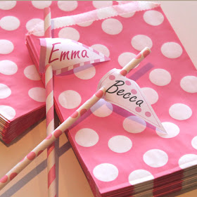 Party Favor Bags and Matching Paper Straws