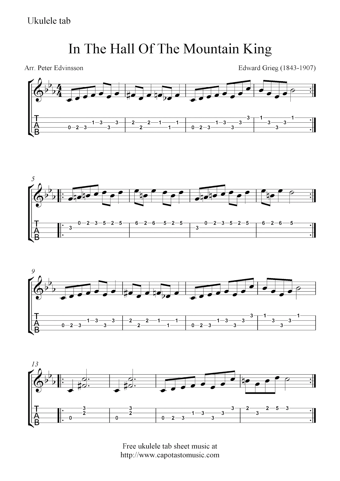 Free ukulele tab sheet music, In The Hall Of The Mountain King