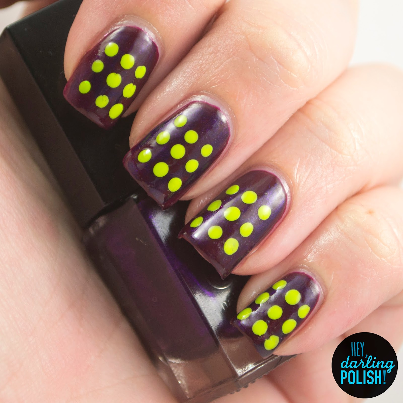 nails, nail art, nail polish, polish, dots, red, purple, green, hey darling polish, tri polish challenge, tpc