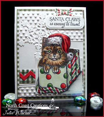 Stamps - North Coast Creations Santa Claws, ODBD Christmas Paper Collection 2013, ODBD Custom Circle Ornaments Die