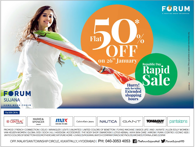 Flat 50% off on 26th January in Forum Sujana Hyderabad | Offer only for today.