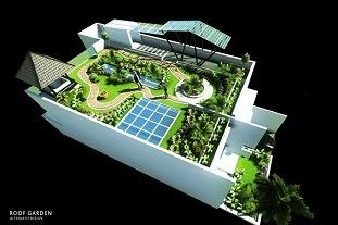 Jasa Desain roof garden taman di atas atap rumah atap gedung