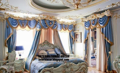Classic curtain designs, bedroom curtains 2014,luxury blue curtain