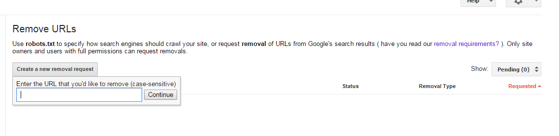 404 page error url remove request