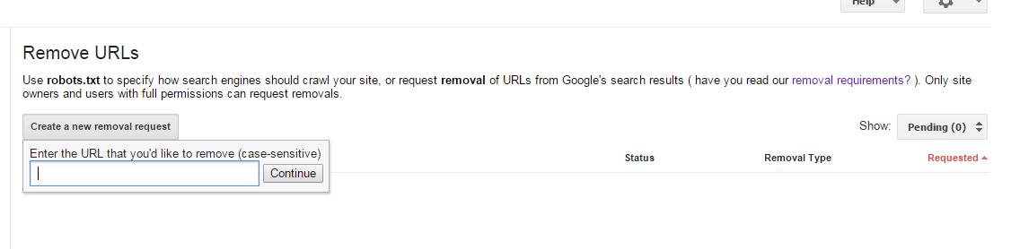 404 page error url remove request