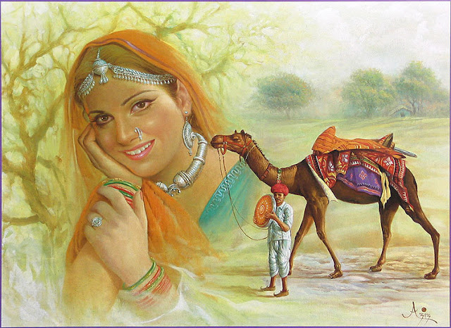Rajasthani Girls Art Paintings 38