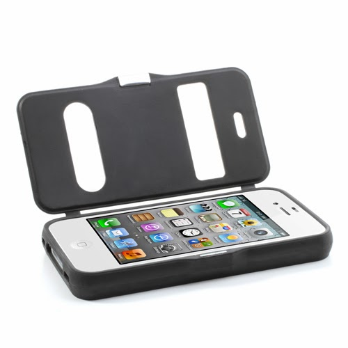 Cross Grain Texture Flip Cover TPU Case for iPhone 4 4S - Grey