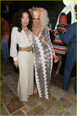 sandra oh and kate walsh 70's glam rock disco dance party