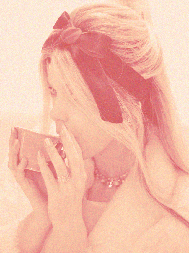 vintage, sipping tea