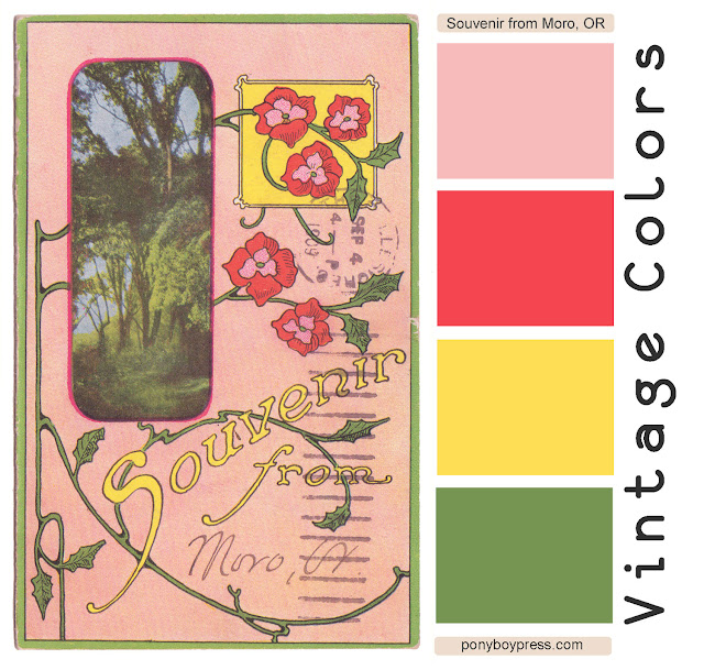 Vintage Color Palettes - Souvenir from Moro, OR - more info and Hex codes on Ponyboy Press blog. Follow VCP on Pinterest.