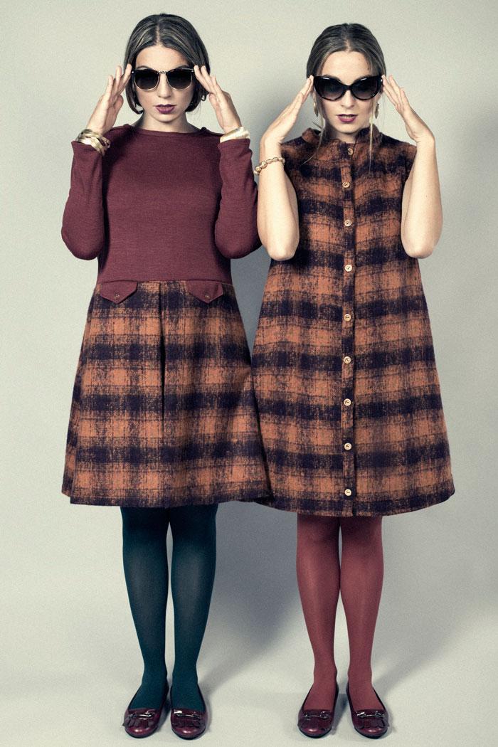 vestido camisero tartan. marsala. moda sostenible. made in spain
