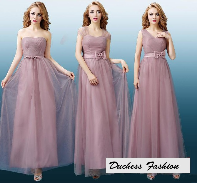 3-Style Muddy Pink Lace Tulle Net Bridesmaids Maxi