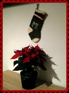 Christmas stocking and poinsettia