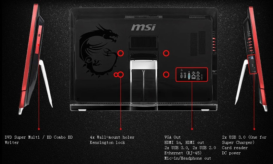 информация о портах моноблоков MSI AG270 2QE и 2QC