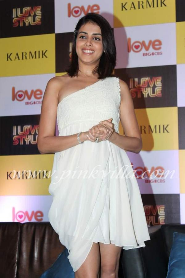 Genelia looks radiant in a flowy white dress -  Genelia D'souza off shoulder WHITE DRESS @cbs press meet