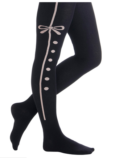 Modcloth black stockings with pink ribbon feature