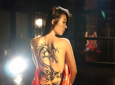 dragon on chinese girl tattoo