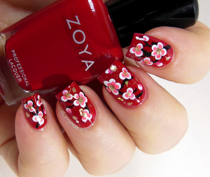 Chinese New Year nail art flowers