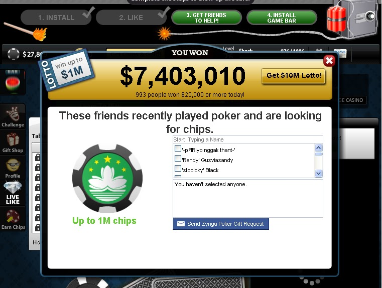 Zynga poker send chips limit