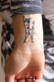 Baby deer tattoo on wrist