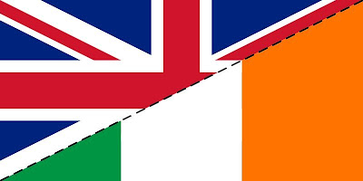 British and Irish flag with cut lines