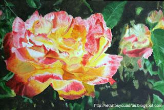 Rosas en pintura acrílica sobre lienzo