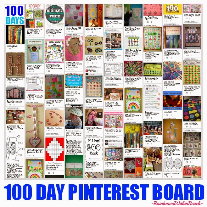 100 Day Celebration Pinterest Board via Debbie Clement at RainbowsWithinReach