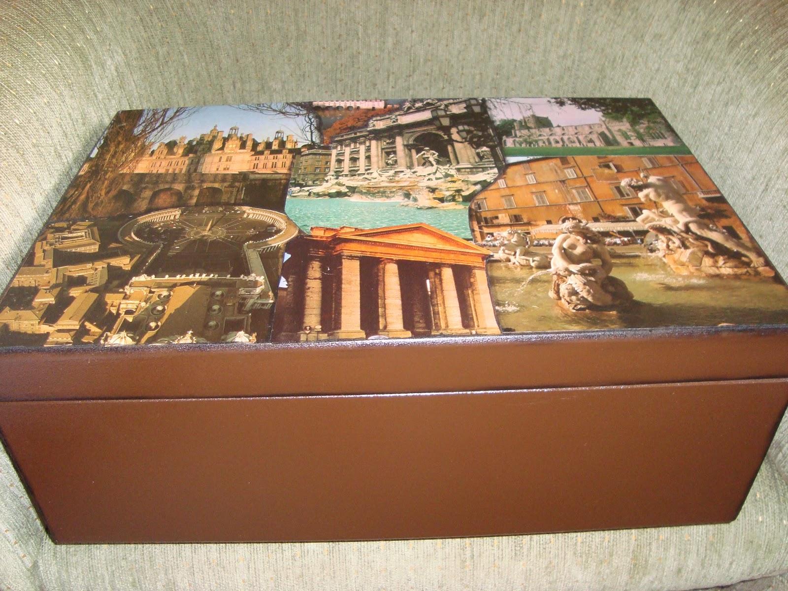 esta caixa de mdf com colagem de gravuras de uma revista com folhas de  #9F612C 1600x1200