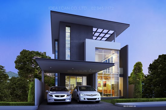 Modern style three story home plans for construction in Contemporary home construction