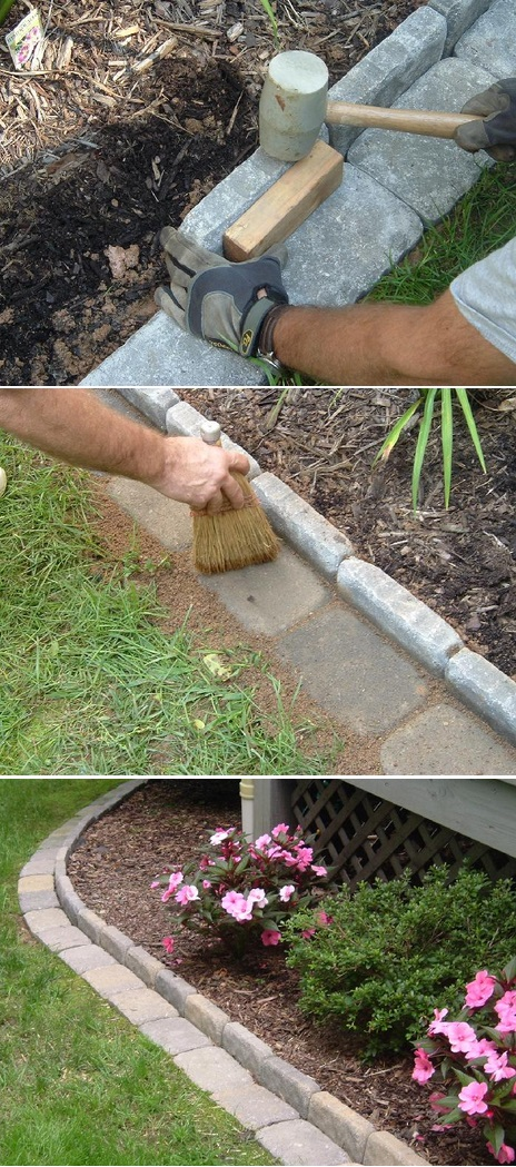 Brick edging for your flower beds for Brick edging for your flower beds