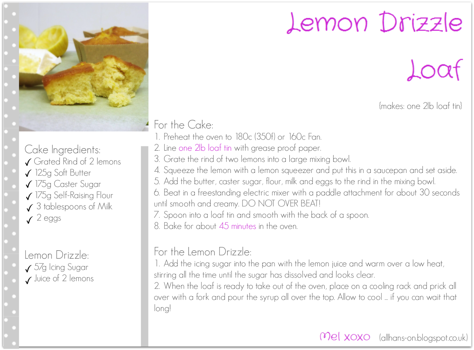 Click here for Lemon Drizzle Loaf Printable Recipe Card