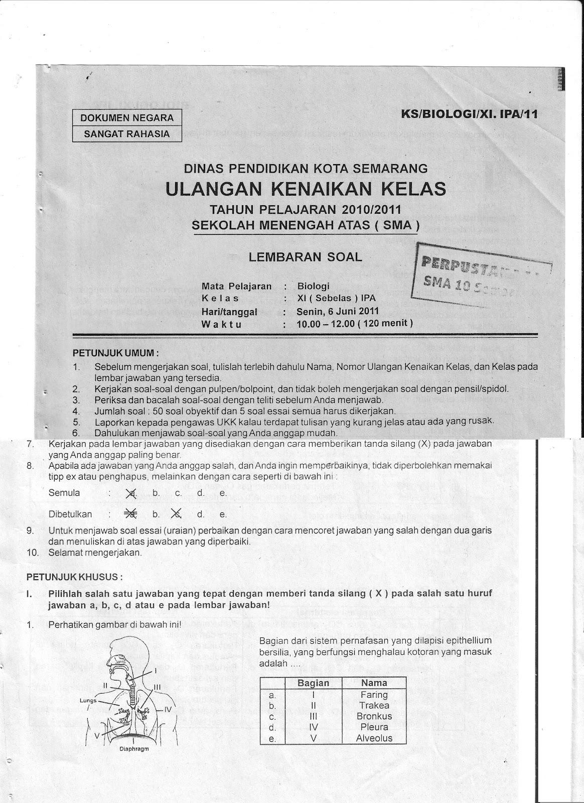 Sma Negeri 10 Semarang Soal Ukk Biologi Xi Tahun 2010 2011