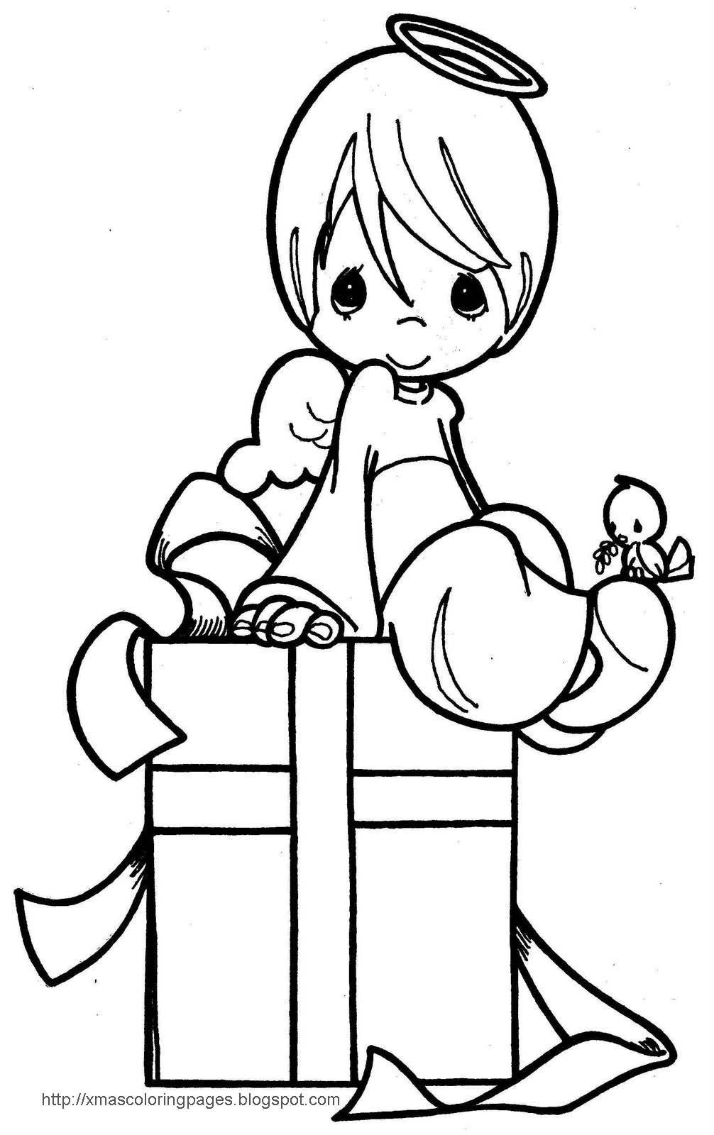 Xmas coloring pages for Coloring page angel