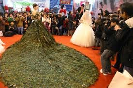 Outrageous Gown with Peacock Train