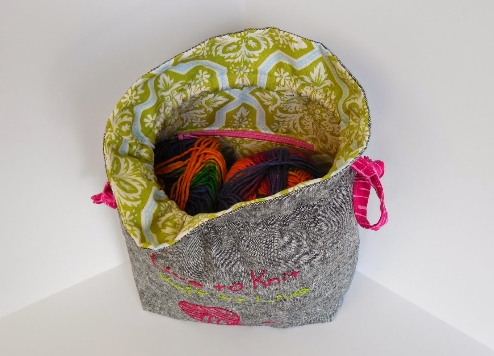 hand embroidered drawstring knitting bag- inside