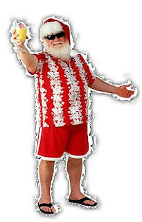 Papai Noel de chinelo de dedo