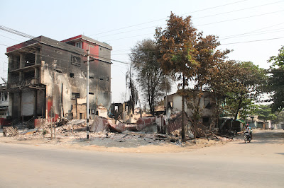 A burnt property in Meiktila following attacks on Muslims,March 2013. photo by Hein Aung
